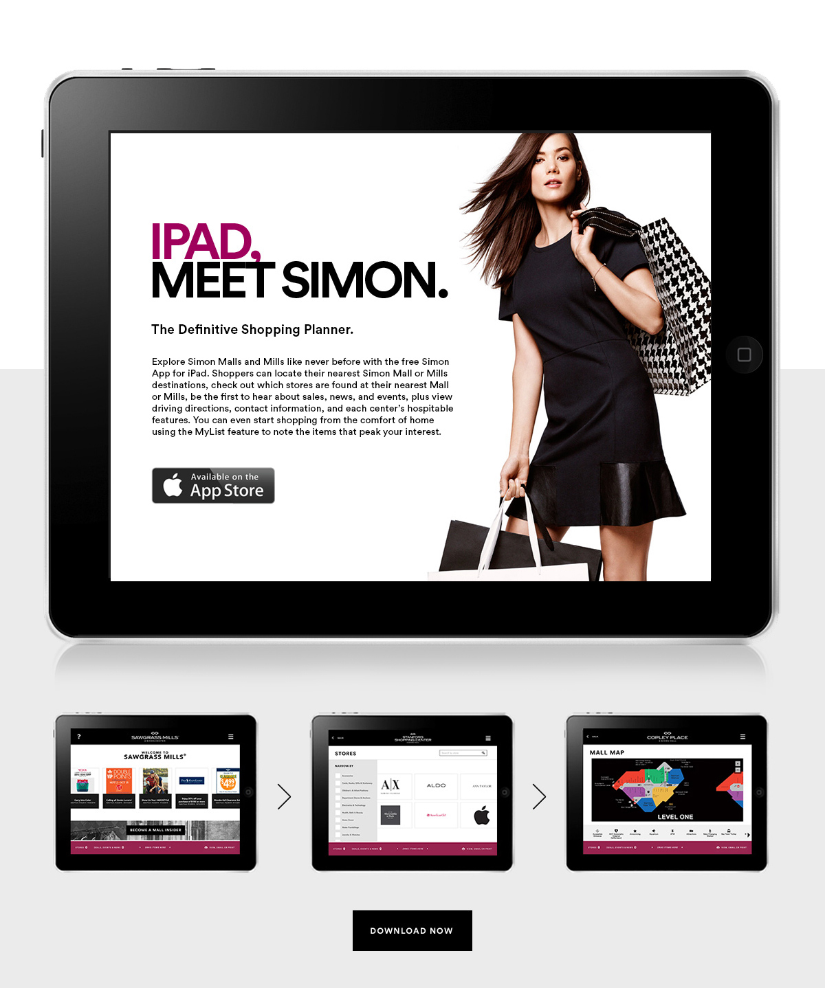 Ipad, Meet Simon. The definitive shopping planner.