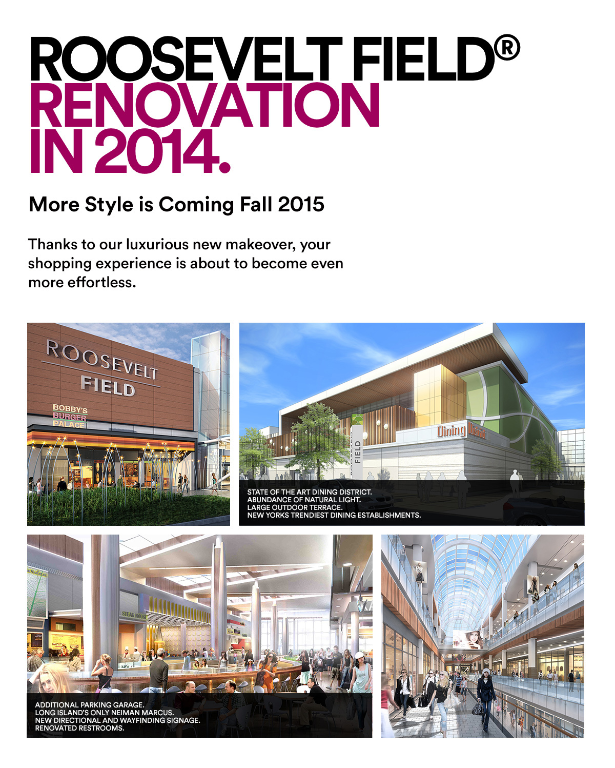 ROOSEVELT FIELD® RENOVATION IN 2014.